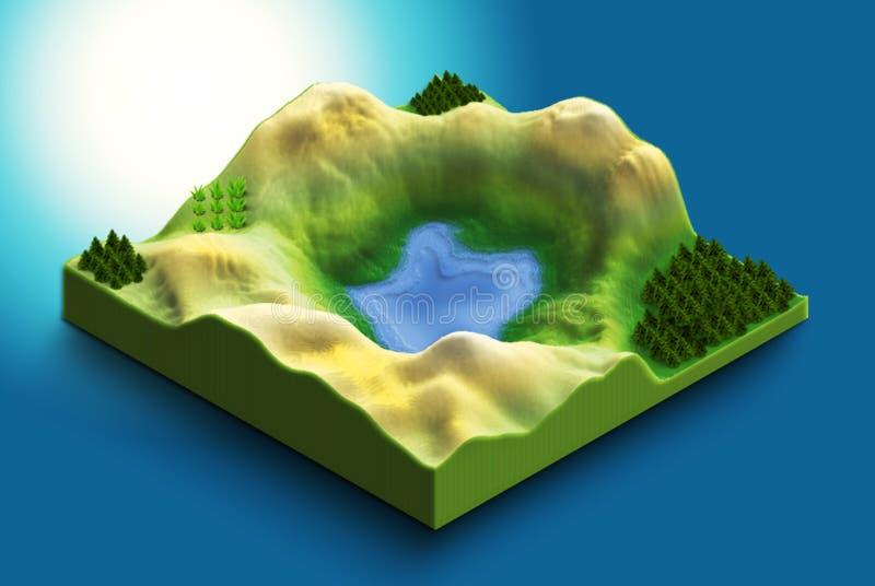 Ισομετρικός χάρτης 3δ της μεγάλης ηφαιστειακής λίμνης στοκ εικόνα