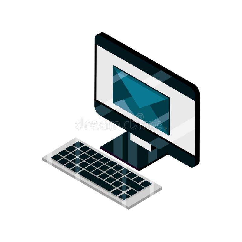 Ισομετρικό απομονωμένο εικονίδιο τεχνολογίας πληκτρολογίου υπολογιστή και email συσκευής gadget διανυσματική απεικόνιση