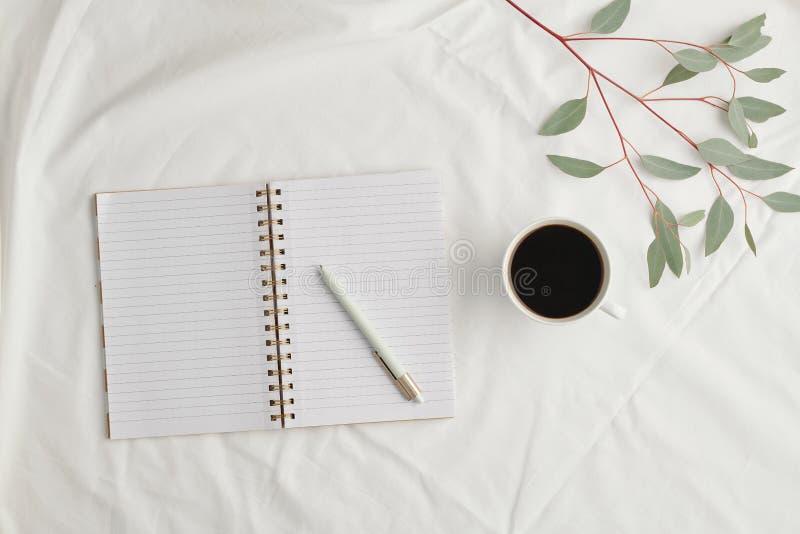 Ισοπέδωση ανοικτού σημειωματάριου με κενές σελίδες και πένα, κούπα μαύρο καφέ και φυτό στοκ εικόνες