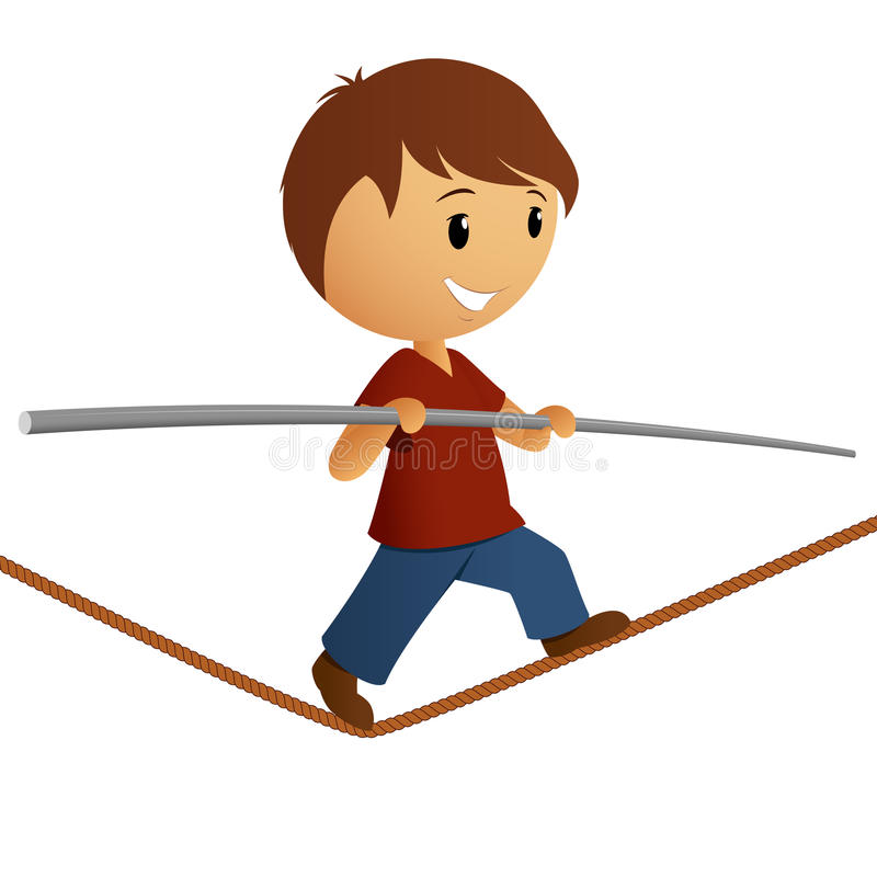Ισορροπία αγοριών στο σχοινί απεικόνιση αποθεμάτων