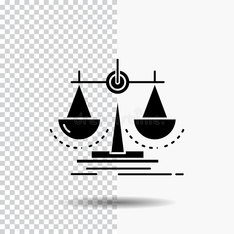 Ισορροπία, απόφαση, δικαιοσύνη, νόμος, εικονίδιο Glyph κλίμακας στο διαφανές υπόβαθρο r απεικόνιση αποθεμάτων