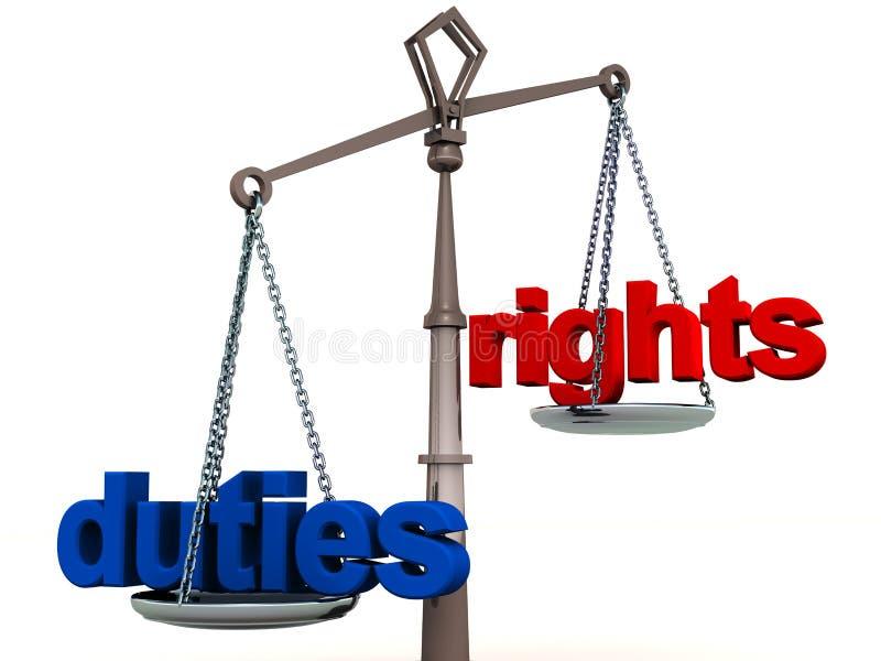 Ισορροπία δικαιωμάτων και υπηρεσιών διανυσματική απεικόνιση