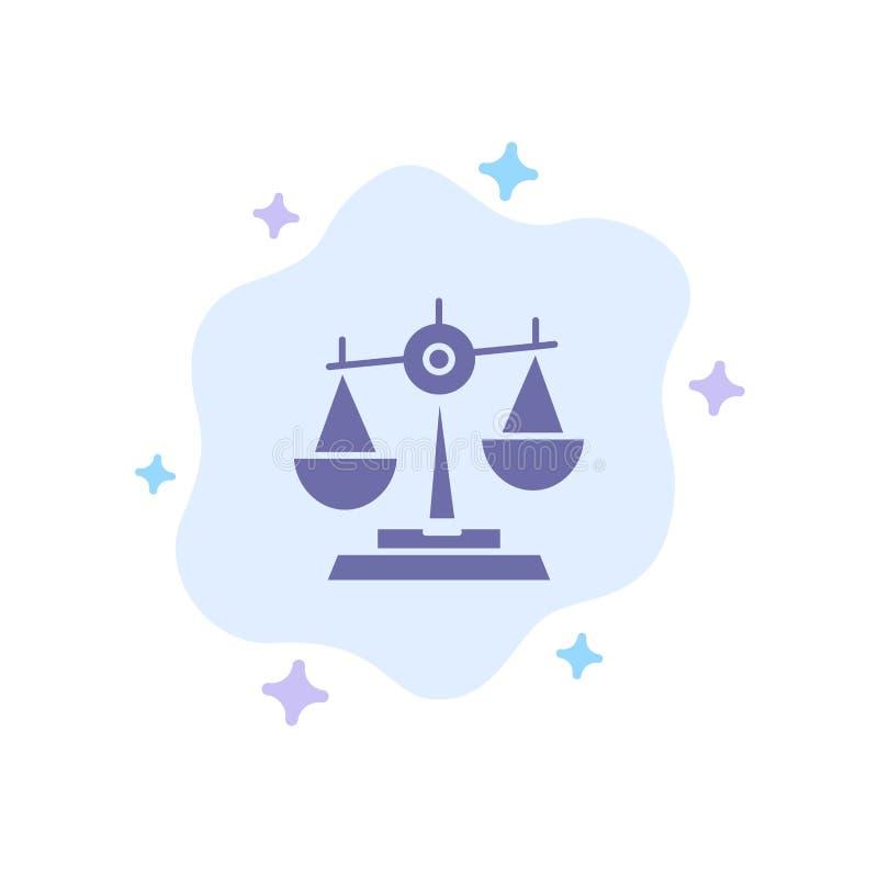 Ισορροπία, δικαστήριο, δικαστής, δικαιοσύνη, νόμος, νομικός, κλίμακα, μπλε εικονίδιο κλιμάκων στο αφηρημένο υπόβαθρο σύννεφων απεικόνιση αποθεμάτων