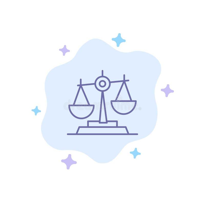 Ισορροπία, δικαστήριο, δικαστής, δικαιοσύνη, νόμος, νομικός, κλίμακα, μπλε εικονίδιο κλιμάκων στο αφηρημένο υπόβαθρο σύννεφων ελεύθερη απεικόνιση δικαιώματος