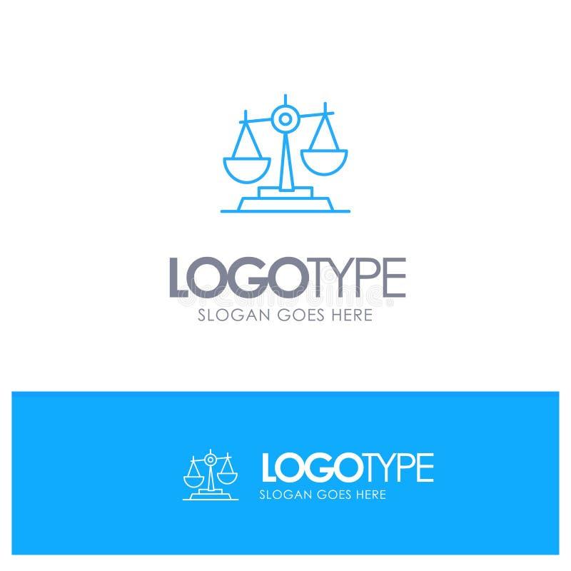 Ισορροπία, δικαστήριο, δικαστής, δικαιοσύνη, νόμος, νομικός, κλίμακα, μπλε λογότυπο περιλήψεων κλιμάκων με τη θέση για το tagline ελεύθερη απεικόνιση δικαιώματος