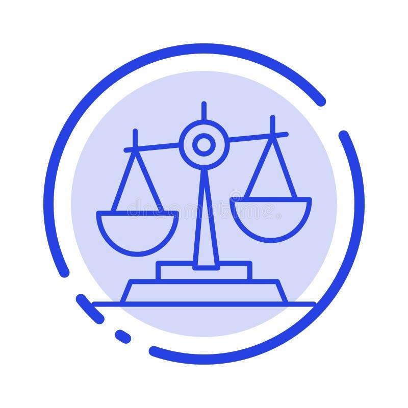 Ισορροπία, δικαστήριο, δικαστής, δικαιοσύνη, νόμος, νομικός, κλίμακα, μπλε εικονίδιο γραμμών διαστιγμένων γραμμών κλιμάκων διανυσματική απεικόνιση
