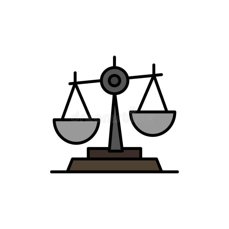 Ισορροπία, δικαστήριο, δικαστής, δικαιοσύνη, νόμος, νομικός, κλίμακα, επίπεδο εικονίδιο χρώματος κλιμάκων Διανυσματικό πρότυπο εμ διανυσματική απεικόνιση
