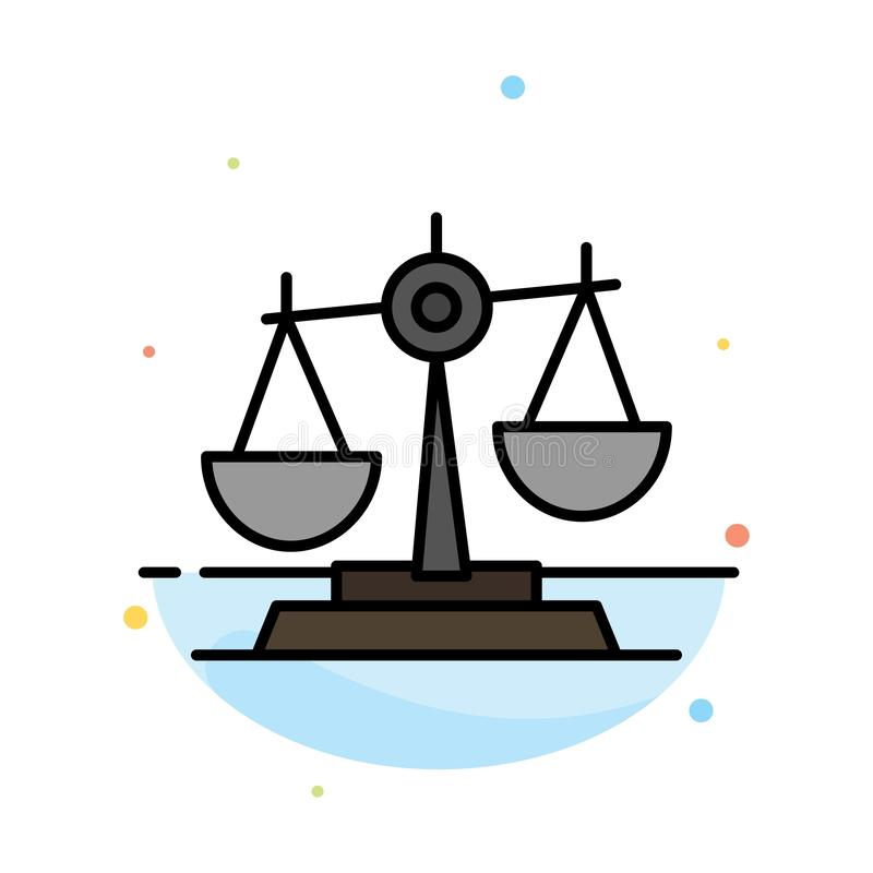 Ισορροπία, δικαστήριο, δικαστής, δικαιοσύνη, νόμος, νομικός, κλίμακα, αφηρημένο επίπεδο πρότυπο εικονιδίων χρώματος κλιμάκων απεικόνιση αποθεμάτων