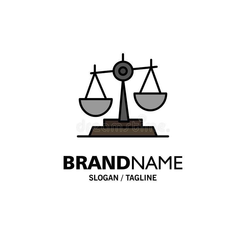 Ισορροπία, δικαστήριο, δικαστής, δικαιοσύνη, νόμος, νομικός, κλίμακα, πρότυπο επιχειρησιακών λογότυπων κλιμάκων Επίπεδο χρώμα διανυσματική απεικόνιση