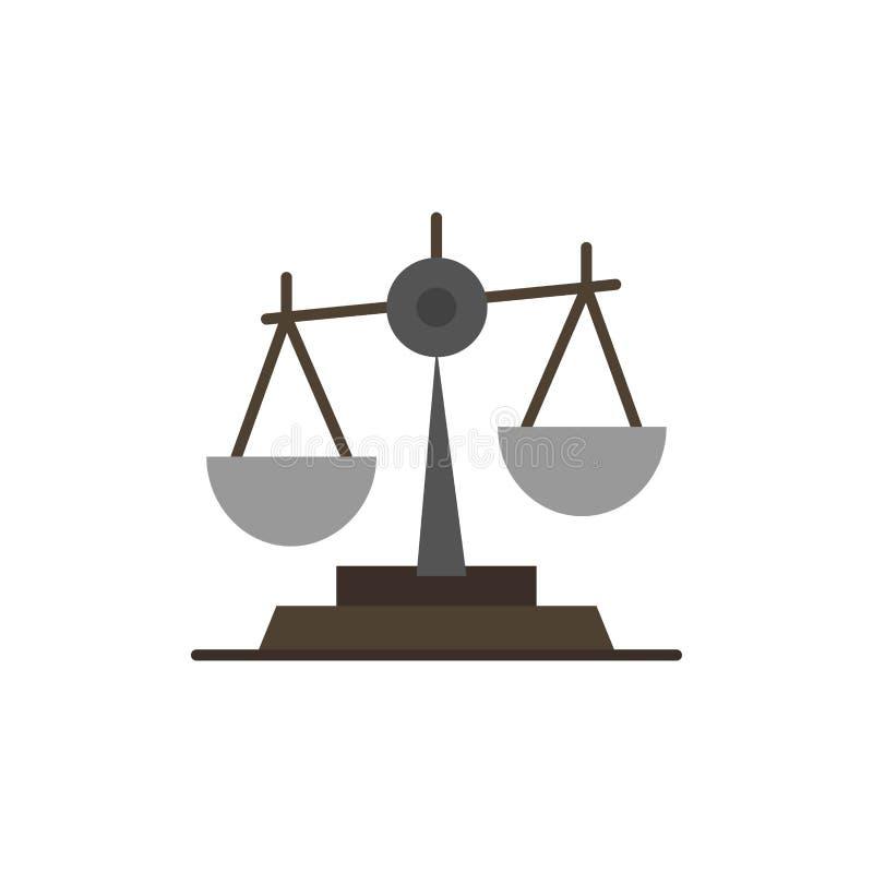 Ισορροπία, δικαστήριο, δικαστής, δικαιοσύνη, νόμος, νομικός, κλίμακα, επίπεδο εικονίδιο χρώματος κλιμάκων Διανυσματικό πρότυπο εμ απεικόνιση αποθεμάτων