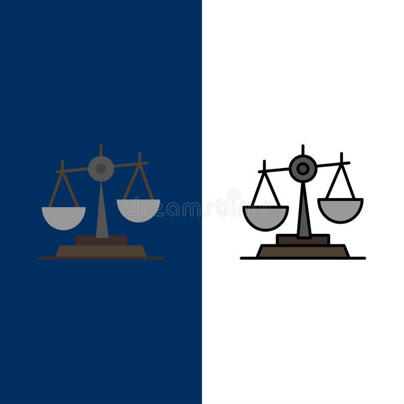 Ισορροπία, δικαστήριο, δικαστής, δικαιοσύνη, νόμος, νομικός, κλίμακα, εικονίδια κλιμάκων Επίπεδος και γραμμή γέμισε το καθορισμέν απεικόνιση αποθεμάτων
