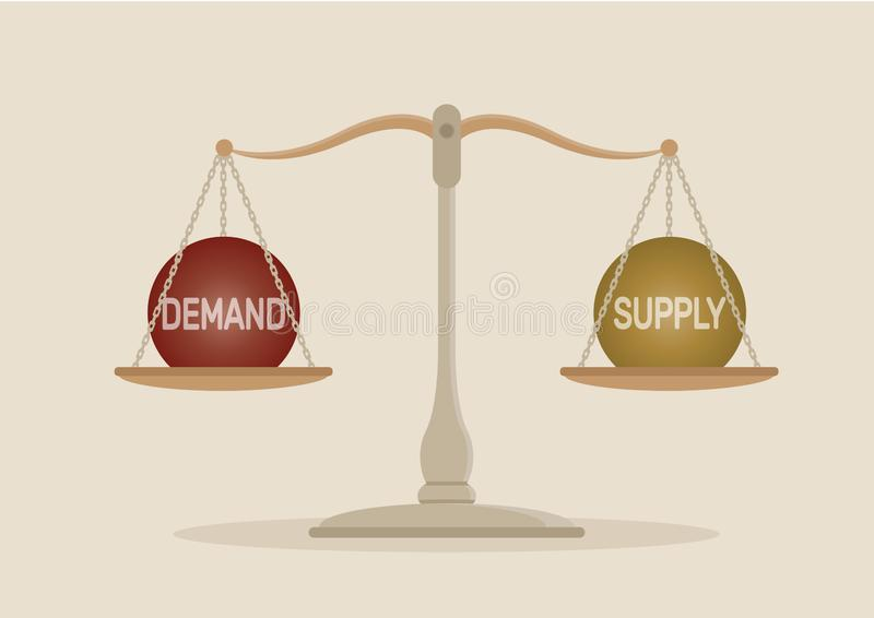 Ισορροπία ζήτησης και προσφοράς στην κλίμακα ελεύθερη απεικόνιση δικαιώματος