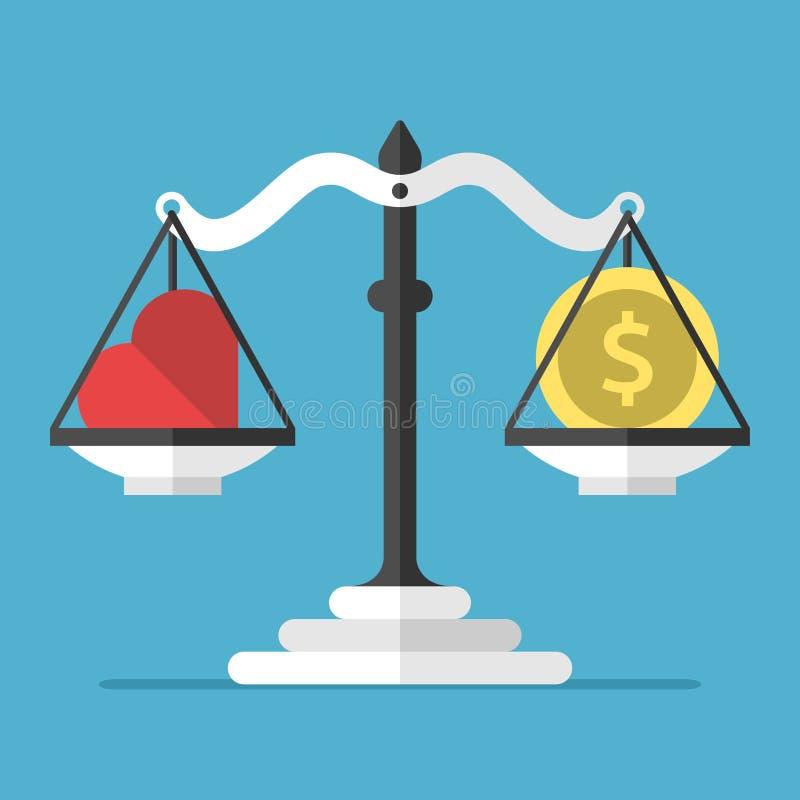 Ισορροπία, καρδιά και νόμισμα απεικόνιση αποθεμάτων
