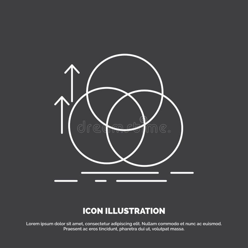 ισορροπία, κύκλος, ευθυγράμμιση, μέτρηση, εικονίδιο γεωμετρίας Διανυσματικό σύμβολο γραμμών για UI και UX, τον ιστοχώρο ή την κιν ελεύθερη απεικόνιση δικαιώματος