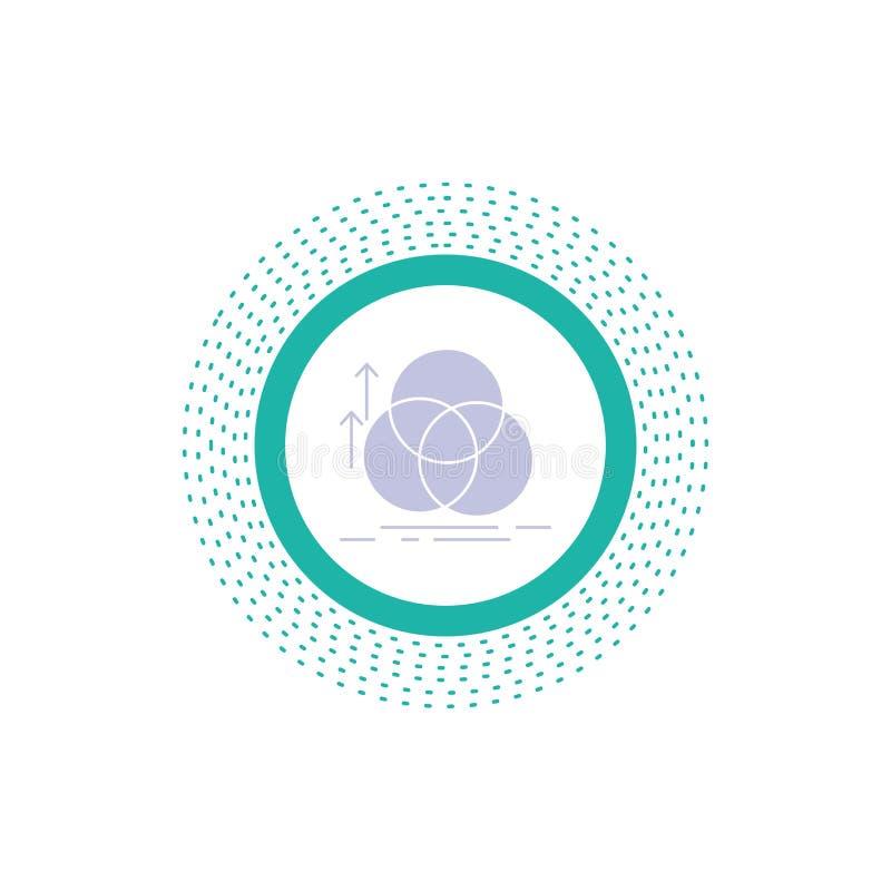ισορροπία, κύκλος, ευθυγράμμιση, μέτρηση, εικονίδιο Glyph γεωμετρίας : διανυσματική απεικόνιση