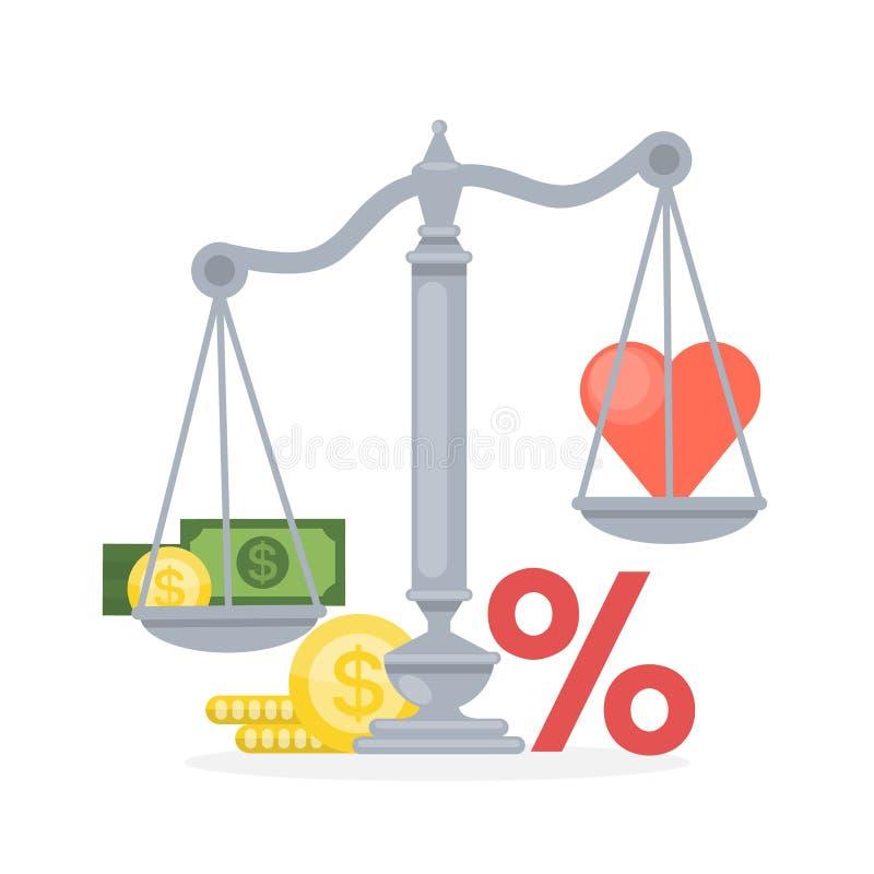 Ισορροπία μεταξύ των χρημάτων και της καρδιάς διανυσματική απεικόνιση