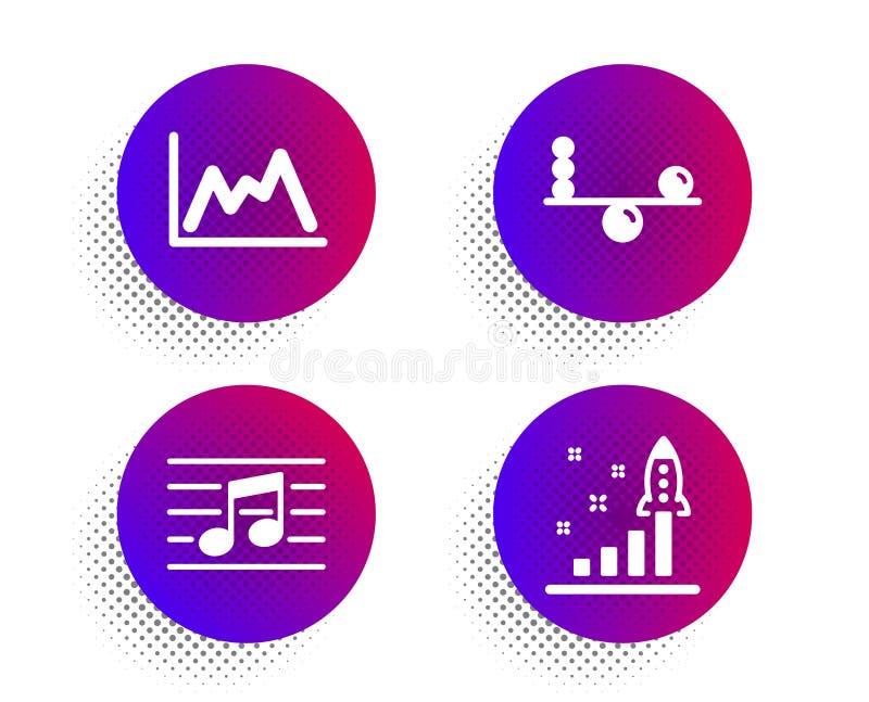 Ισορροπία, μουσικά σημείωση και εικονίδια διαγραμμάτων καθορισμένες Σημάδι σχεδίων ανάπτυξης Συγκέντρωση, μουσική, γραφική παράστ διανυσματική απεικόνιση