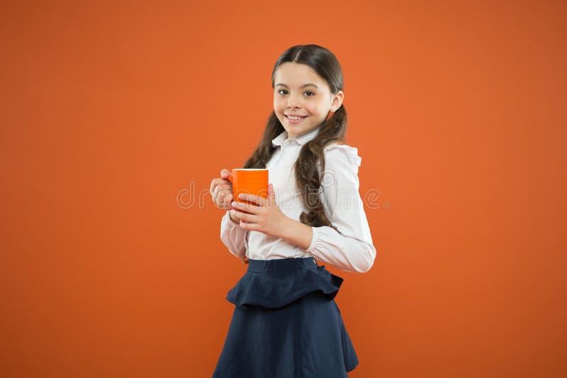 Ισορροπία νερού Απόλαυση του τσαγιού πριν από τις σχολικές τάξεις Το ποτό αρκετοί ποτίζει Ποτό έμπνευσης Το κορίτσι πίνει το κακά στοκ εικόνες