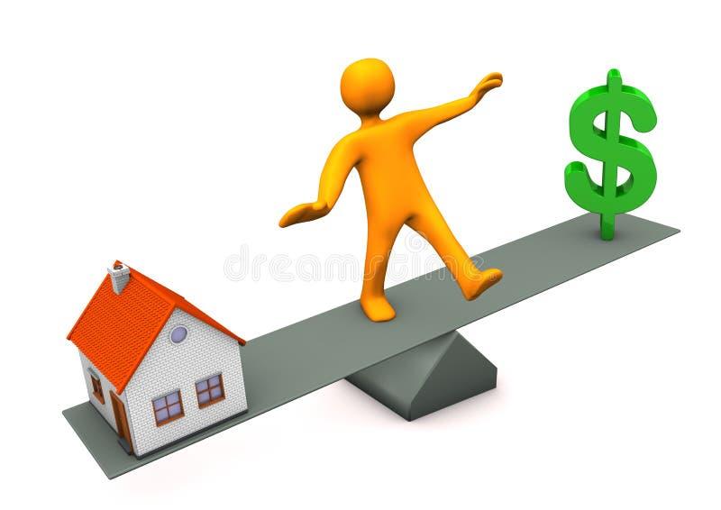 Ισορροπία δολαρίων σπιτιών διανυσματική απεικόνιση