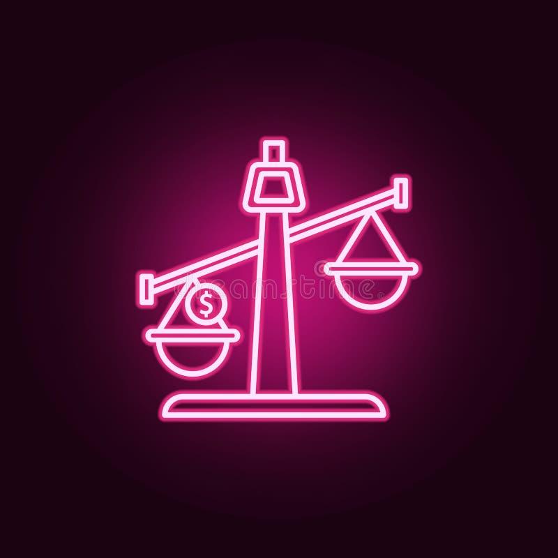Ισορροπία, χρήματα, εικονίδιο νέου νομισμάτων Στοιχεία του συνόλου νόμου & δικαιοσύνης r διανυσματική απεικόνιση