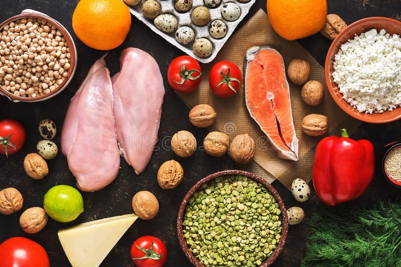 Ισορροπημένα διαιτητικά προϊόντα κατανάλωση έννοιας υγιής Υπόβαθρο ενός υγιούς γεύματος Φρούτα, λαχανικά, σολομός, λωρίδα κοτόπου στοκ εικόνα