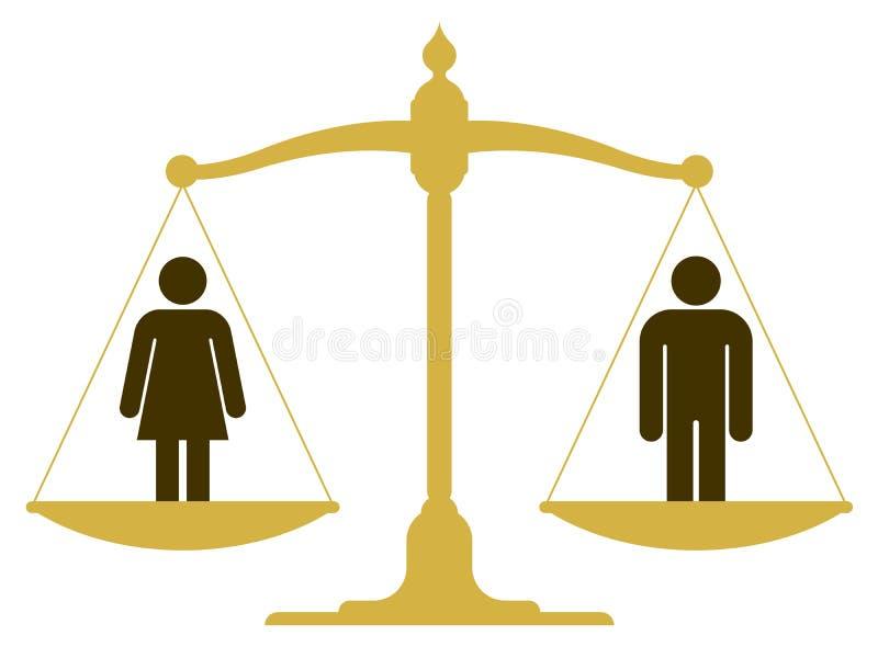 Ισορροπημένη κλίμακα με έναν άνδρα και μια γυναίκα απεικόνιση αποθεμάτων
