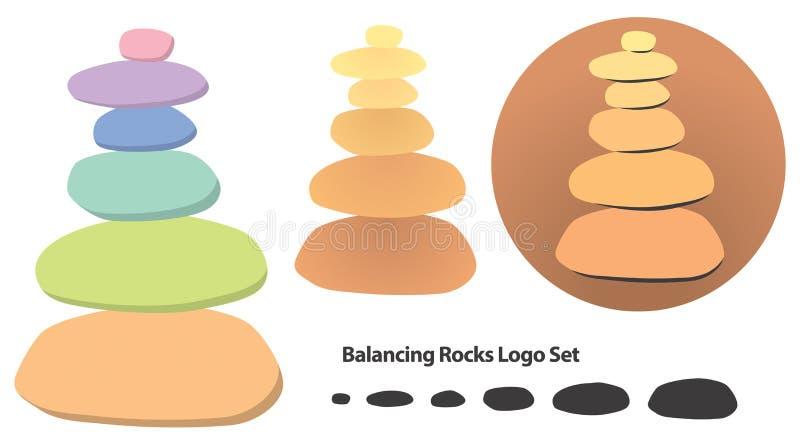 Ισορροπώντας λογότυπο βράχων διανυσματική απεικόνιση