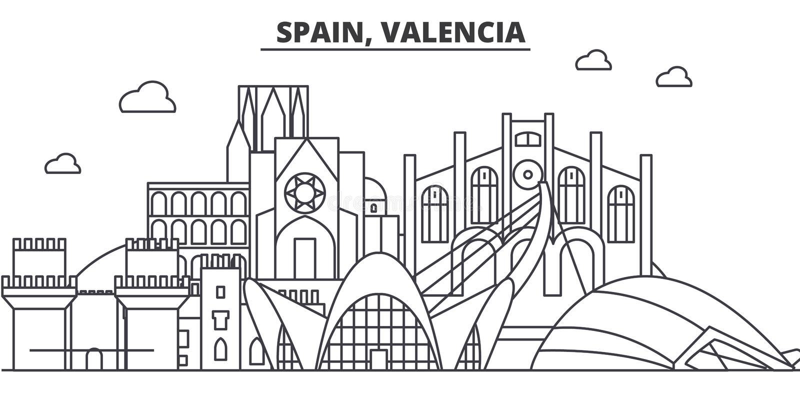 Ισπανία, απεικόνιση οριζόντων γραμμών αρχιτεκτονικής της Βαλένθια Γραμμική διανυσματική εικονική παράσταση πόλης με τα διάσημα ορ ελεύθερη απεικόνιση δικαιώματος