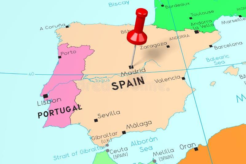 Ισπανία, Μαδρίτη - πρωτεύουσα, που καρφώνεται στον πολιτικό χάρτη διανυσματική απεικόνιση