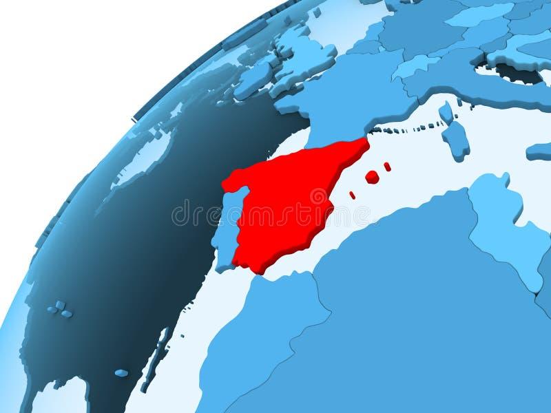 Ισπανία στην μπλε σφαίρα διανυσματική απεικόνιση