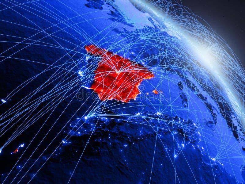 Ισπανία στην μπλε μπλε ψηφιακή σφαίρα διανυσματική απεικόνιση