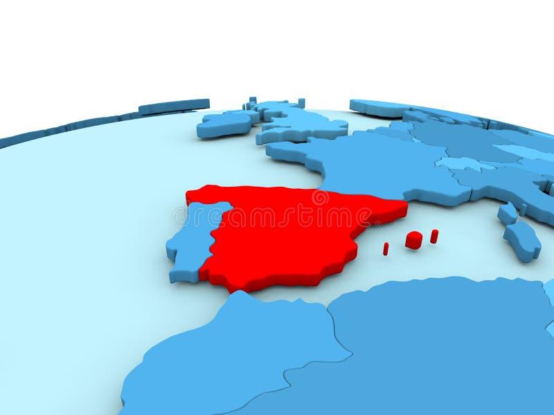 Ισπανία στην μπλε σφαίρα απεικόνιση αποθεμάτων