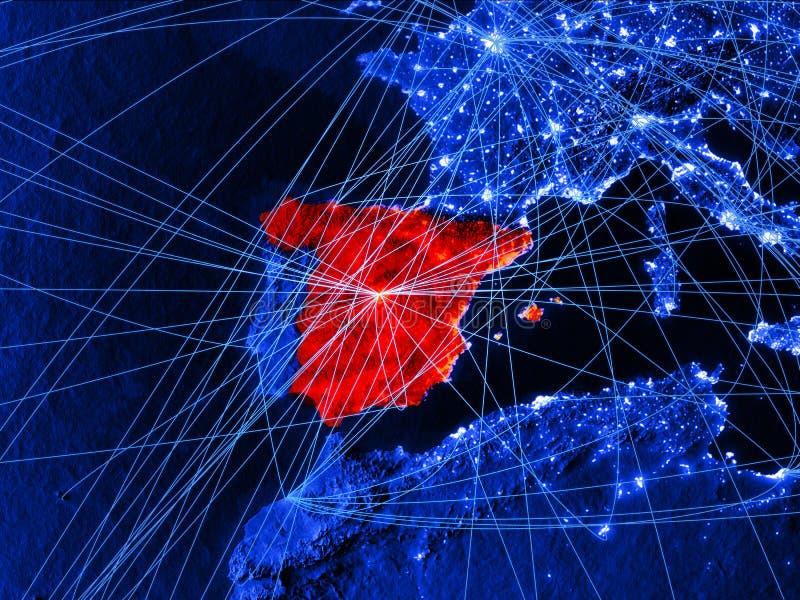 Ισπανία στον μπλε ψηφιακό χάρτη με τα δίκτυα Έννοια του διεθνών ταξιδιού, της επικοινωνίας και της τεχνολογίας τρισδιάστατη απεικ διανυσματική απεικόνιση