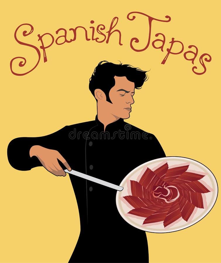 ισπανικά tapas Όμορφος ισπανικός αρχιμάγειρας που κρατά ένα μαχαίρι και που παρουσιάζει εύγευστο πιάτο του ιβηρικού ζαμπόν απεικόνιση αποθεμάτων