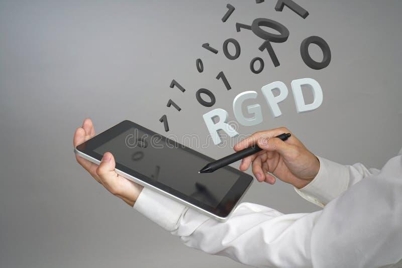 Ισπανικής, γαλλικής και ιταλικής έκδοσης εκδοχή RGPD, GDPR: Reglamento General de Proteccion de datos Γενικά στοιχεία στοκ εικόνα με δικαίωμα ελεύθερης χρήσης