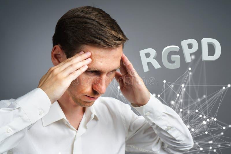 Ισπανικής, γαλλικής και ιταλικής έκδοσης εκδοχή RGPD, GDPR: Reglamento General de Proteccion de datos Γενικά στοιχεία στοκ εικόνες
