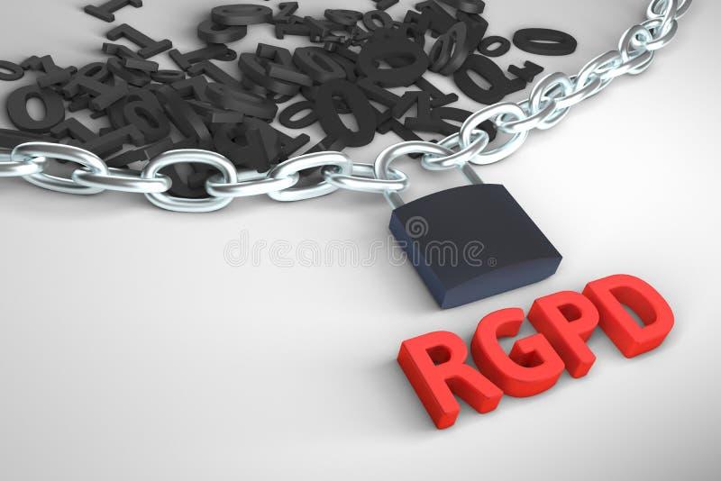 Ισπανικής και ιταλικής έκδοσης εκδοχή RGPD, GDPR: Sulla Regolamento generale dati dei protezione Τρισδιάστατη απόδοση έννοιας διανυσματική απεικόνιση