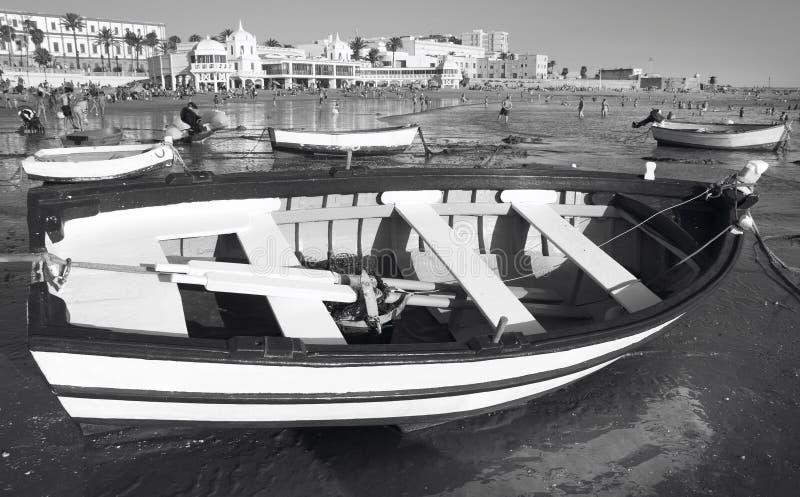 Ισπανική ατλαντική παραλία στην Ανδαλουσία Λα Caleta, Καντίζ Ισπανία στοκ φωτογραφίες