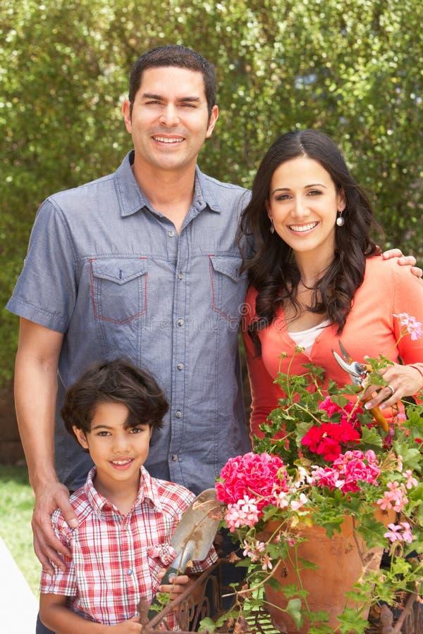 Ισπανική οικογένεια που εργάζεται στα δοχεία τακτοποίησης κήπων στοκ εικόνες με δικαίωμα ελεύθερης χρήσης