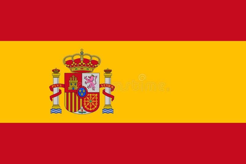 Ισπανική σημαία, επίπεδο σχεδιάγραμμα, απεικόνιση απεικόνιση αποθεμάτων