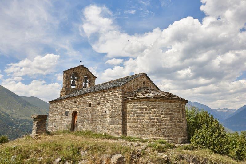 Ισπανική romanesque τέχνη Εκκλησία Sant quirc de durro Boi στοκ εικόνες