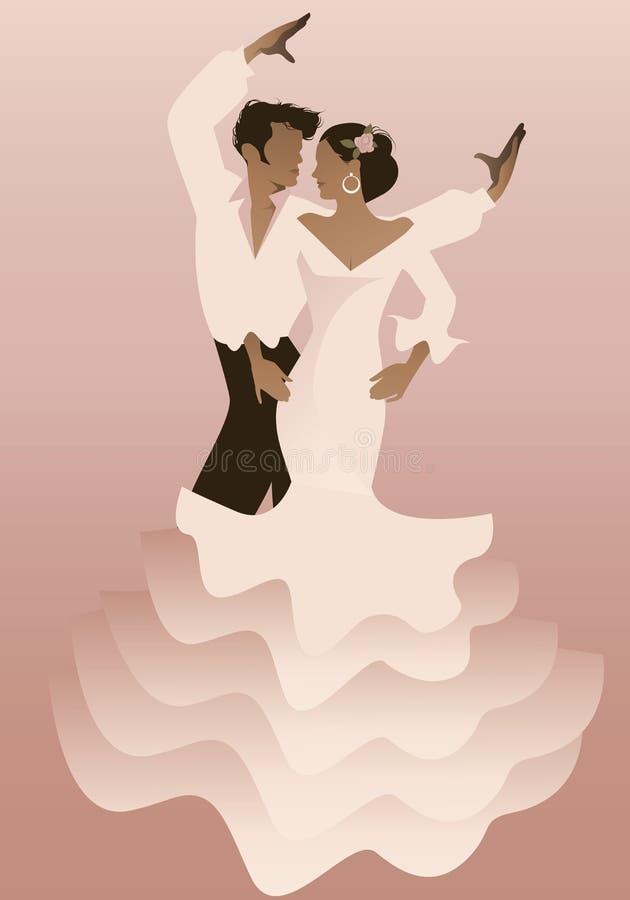 Ισπανικοί flamenco ζευγών χορευτές επίσης corel σύρετε το διάνυσμα απεικόνισης ελεύθερη απεικόνιση δικαιώματος