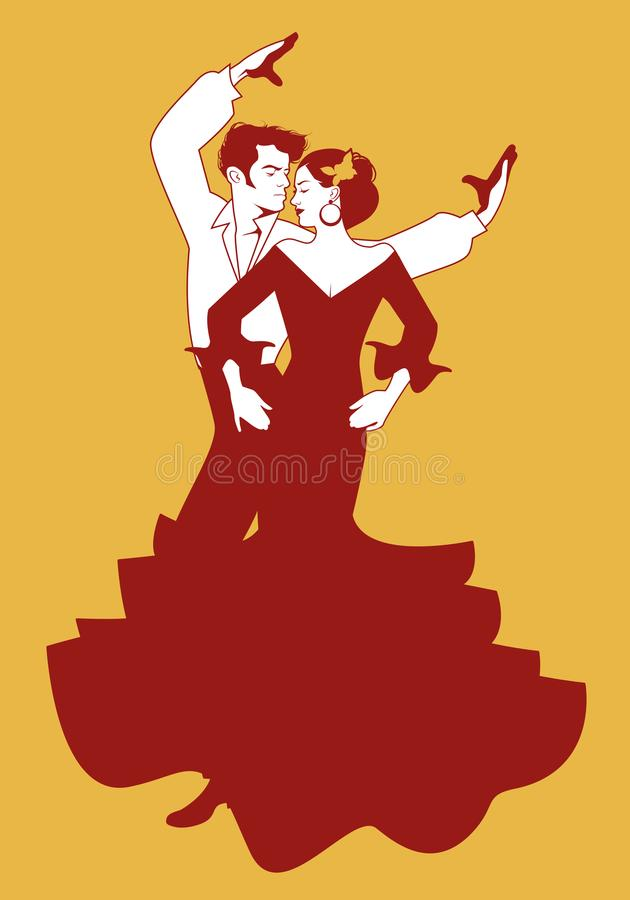 Ισπανικοί flamenco ζευγών χορευτές επίσης corel σύρετε το διάνυσμα απεικόνισης διανυσματική απεικόνιση