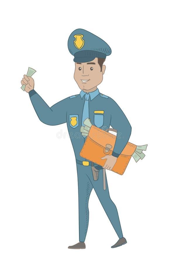 Ισπανικός αστυνομικός με το σύνολο χαρτοφυλάκων των χρημάτων διανυσματική απεικόνιση