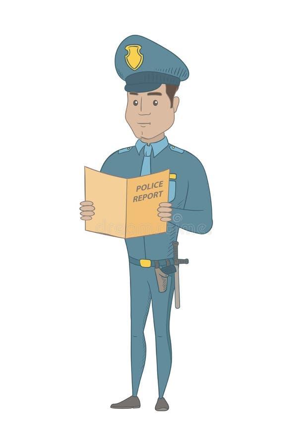 Ισπανικός αστυνομικός που κρατά μια έκθεση αστυνομίας ελεύθερη απεικόνιση δικαιώματος