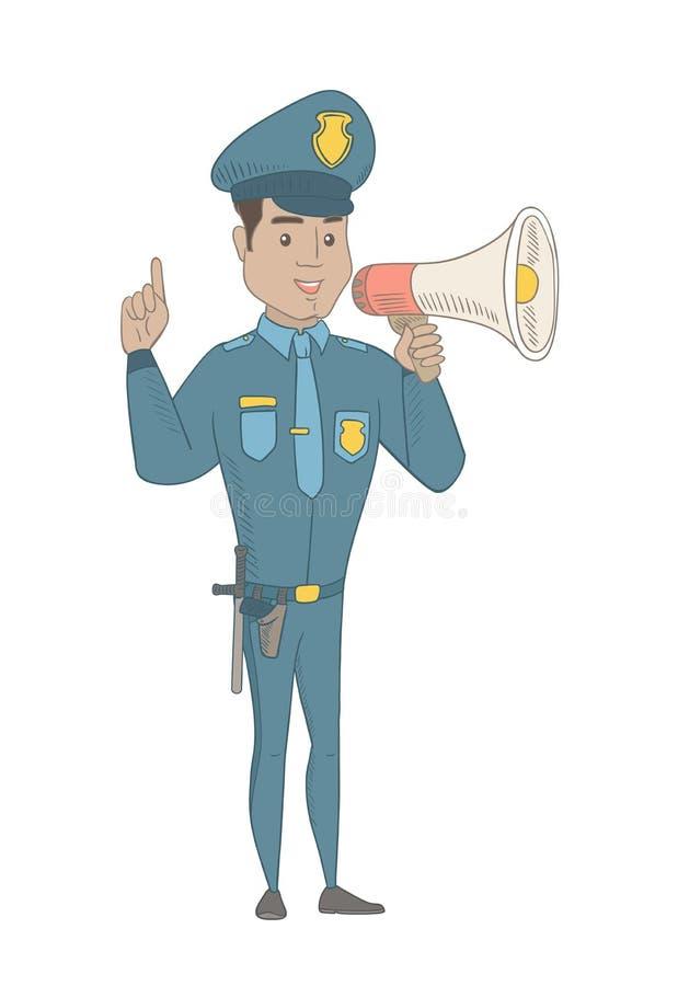 Ισπανικός αστυνομικός που μιλά στο μεγάφωνο απεικόνιση αποθεμάτων