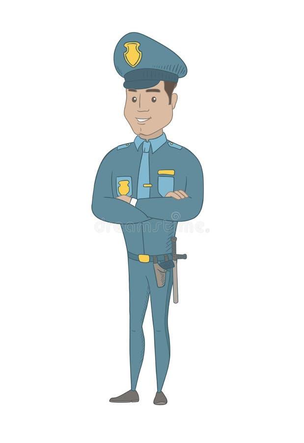 Ισπανικός αστυνομικός που στέκεται με τα διπλωμένα όπλα απεικόνιση αποθεμάτων