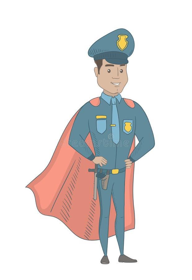 Ισπανικός αστυνομικός που φορά έναν κόκκινο επενδύτη superhero διανυσματική απεικόνιση
