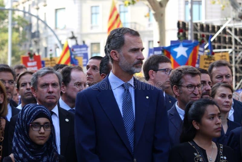 Ισπανικός βασιλιάς Felipe VI στη διαμαρτυρία ενάντια στην τρομοκρατία στοκ φωτογραφία με δικαίωμα ελεύθερης χρήσης