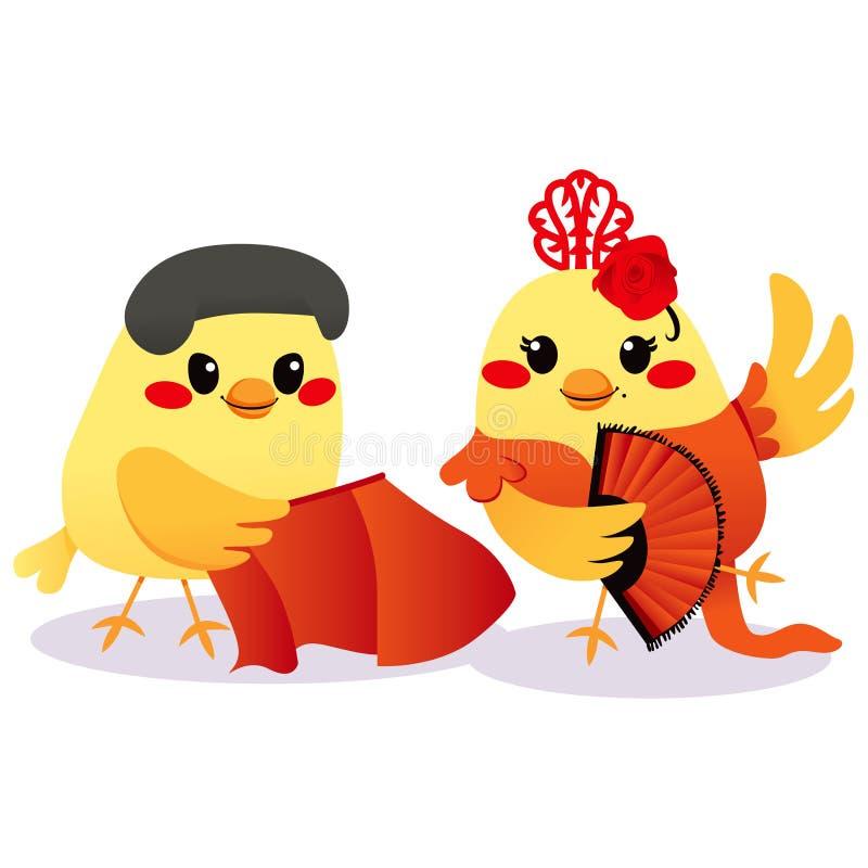 ισπανικός παραδοσιακός πουλιών διανυσματική απεικόνιση